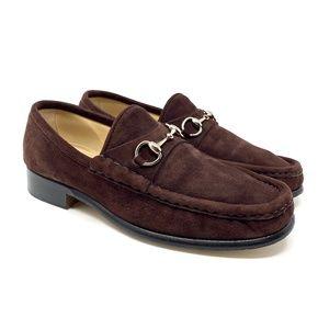 GUCCI Brown Suede Silver Bit Luxury Loafer